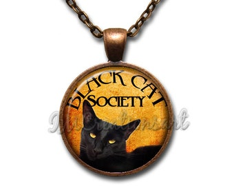 Gothic Black Cat Society Orange Glass Dome Pendant or with Chain Link Necklace