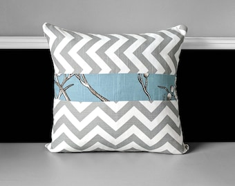 Pillow Cover -  Grey Chevron, Blue Floral