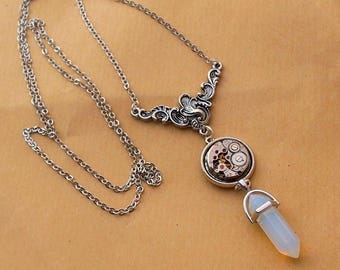 steampunk necklace silver mechanism and its translucent stone