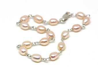 Light Peach Pink Pearl Bracelet Wire Wrapped on Silver   Warm Pink Freshwater Pearls   Bridal or Bridesmaid Jewelry   Handmade by Azki