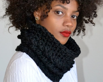 Black Faux Cable Cowl/ Single Cable Cowl/ One Cable Cowl Scarf/ Crochet Cowl Scarf/ Black Winter Cowl/ Black Neck Warmer/ Gift for Her