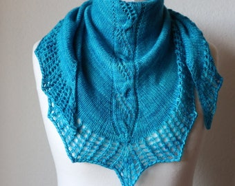 Shawl Knitting PATTERN PDF, Knitted Shawl Pattern, Lace Shawl Wrap Triangle Shawl - Near the Ocean