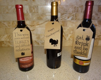 3 Thanksgiving Wine Bottle Tags