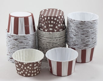 BROWN COFFEE Polka Dots/ Stripes Candy Nut Portion Cups- Greaseproof Cupcake/Muffin Baking Cups (24 Count)