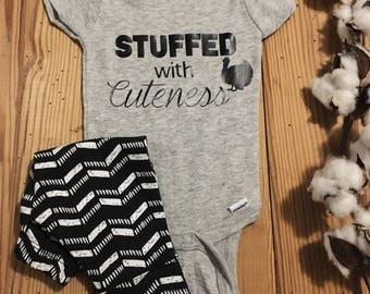 stuffed with cuteness onesie, Thanksgiving Onesie, Holiday Onesie, Turkey Onesie, Baby Onesie, Baby Boy Onesie,  Baby Girl Onesie,