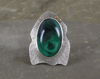 Rocket Ring ~ Sterling Silver and Malachite Ring with Gold Accent ~ Size 7 1/2 ~ Statement Ring, Handmade, One of a Kind