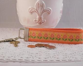 Cheery Orange Floral Keychain Wristlet