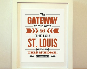 St. Louis, This Is Home, The Lou, The Gateway To The West, Saint Louis, St. Louis Print, Typography, St. Louis Map, Arch, Missouri, Art