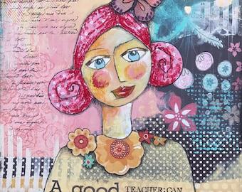 A good teacher, mixed media,art print,butterflies,flowers,yellow red and black