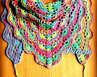 Crochet Shawl Pattern Crochet Shawl Tutorial DIY Crochet Shawl Triangle Shawl Boho Shawl Hippie Shawl Boho Crochet Scarf PDF Shawl Crochet
