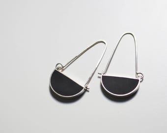 Geometric Long Silver Resin Semicircle Dangle Earrings
