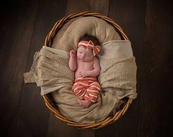 Newborn Pant and Headband Set, Burnt Orange, Gray, Pink and Cream Scallop Knit Leggings and Headband Set, Newborn Photography Prop, Headband