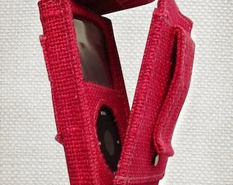 iPod Classic Case Pink, Made of Jute Burlap Hemp