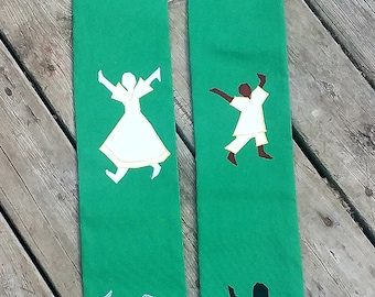 Clergy Stole - Green/White for Ordinary Time - with Multicultural Praise Dancers
