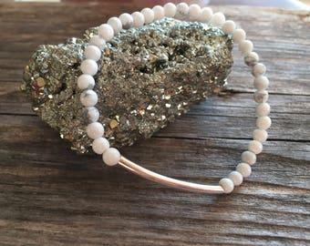 White Howlite Skinny Bracelet, Yoga Bracelet, Healing Bracelet, Stretch Bracelet, Minimal Bracelet, Boho Bracelet, Silver Bar Bracelet