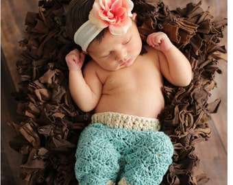 INSTANT DOWNLOAD - Crochet Baby Pants Pattern - Crochet Shell Pants - Crochet Pants - Crochet Pattern