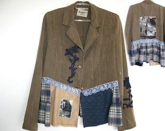 Recycled jacket/art to wear/shabby chic/boho coat/recyled coat/cowgirl/steampunk jacket/tattered