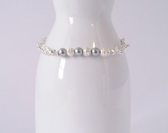Silver pearl and metal filigree bead bracelet in spiral chainmaille weave