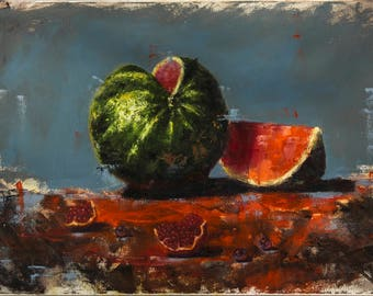 Watermelon/oil painting original, still life, oil painting on canvas, impasto, original artwork, palette knife. 15.7x23.6 inch (40x60cm)