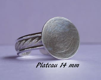Ring in sterling silver.925 classic pattern, 14 mm round flat top