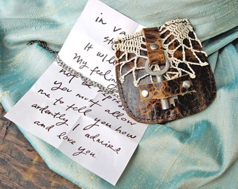 Leather Pouch Necklace with Vintage Lace and Antique Key - Upcycled Boho Medicine Bag Love Note