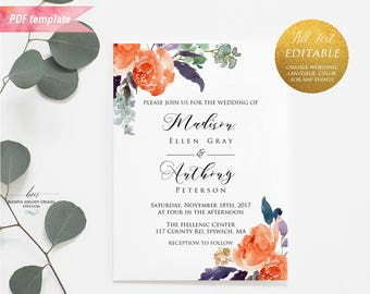 Printable Orange Purple Green Floral Wedding Invitation PDF Template, Editable Rustic Fall Wedding Invites, vistaprint, DIY Download #03
