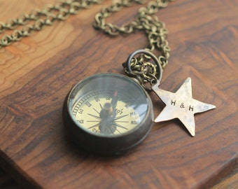 Compass, Compass Necklace, Working Compass, Open-Face Small Brass Pocket Compass Necklace CP25 w leather case by CoughingCowNChicken