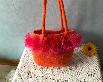 Orange and Pink Handbag, Upcycled Felted Purse Repurposed from a Wool Sweater,