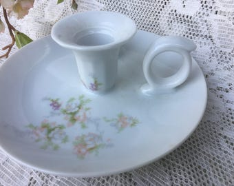 Chamber stick Candle & Match holder-Thumb Grip ..attached Saucer Hand painted Flowers