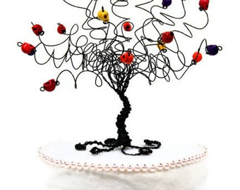 Day of the Dead Cake Topper Wire Tree Sculpture with Sugar Skulls