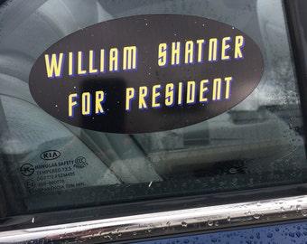 William Shatner for President Vinyl Window Decal