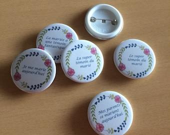 Badges customized for wedding, birthday...