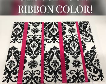 Black and White Damask Hair Bow Holder Hair Bow Organizer Choose your Ribbon Color