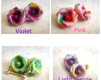 Jewelry, Origami, earrings, Stud, studs, roses, Origami Jewelry, Origami studs, pink stud earrings