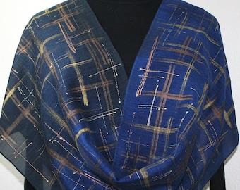 Hand Painted Silk Wool Scarf. Blue, Navy, Bronze Warm Silk-Wool Scarf LIGHTS IN RAIN. Silk Scarves Colorado. Large 14x68. Birthday Gift.