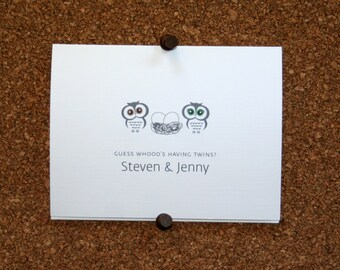 Owl Twins Shower Invitations / Shower Invites / Personalized / Twin Boys / Twin Girls / Boy & Girl Twins / Eggs in Nest