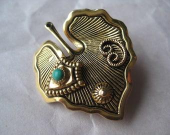 Leaf Turquoise Gold Brooch Vintage Pin