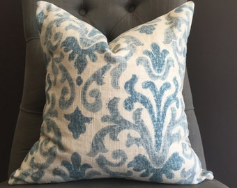 Pillow Cover, Ivory and Blue Pillow Cover, SUZIE