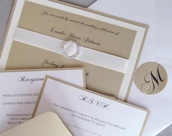 Elegant wedding invitation, gold, ivory, wedding invitation, rhinestone wedding invitation, layered wedding invitation