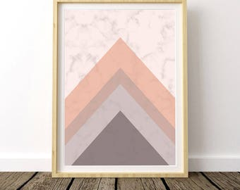 Pink Marble, Marble Print, Marble Decor, Nordic Design, Nordic Art, Geometric Wall Art, Nordic Print, Nordic Art, Digital Download