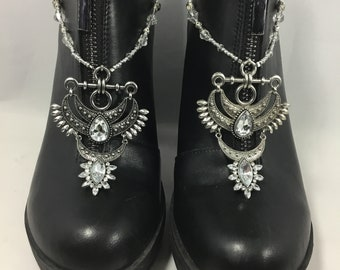 Silver and clear crystal moon and stars boot straps / boot bling / shoe jewelry