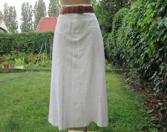 Long Linen Skirt Skirt Vintage / White Linen Skirt / White Cotton Skirt / Maxi / Size EUR38 / UK10