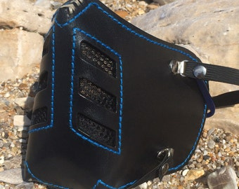 "Leather MasK ""killer bug"" [Legend motorcycle 3] by SanDiegoChopper (black stitching leather blue)"