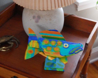 Table Top whimsical Fish Art - Colorful Painted Recycled Wood Fish Self Standing Table, Coffee Table or Shelf Decor