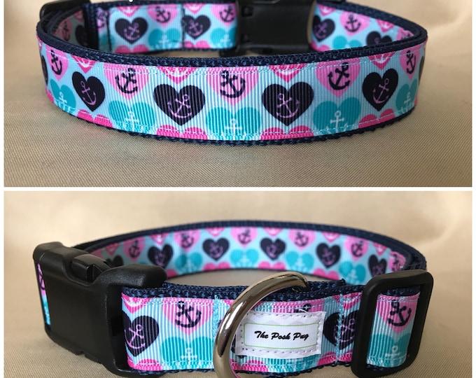 "Handmade Aqua Sailor Hearts 1"" Adjustable Dog Collar - MEDIUM"