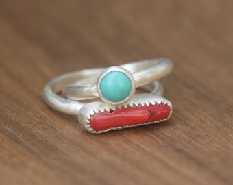 Turquoise and Bamboo Coral Stacking Rings, sterling silver