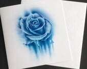 Blue rose watercolour sty...