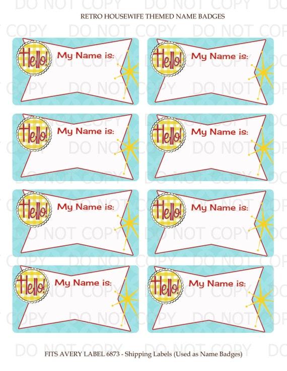 Printable Diy Retro Housewife Party Bridal Shower Name Badge
