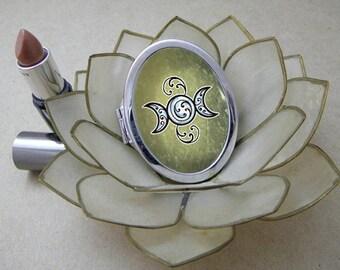 Triple Goddess Moon, Compact Magic Art Mirror