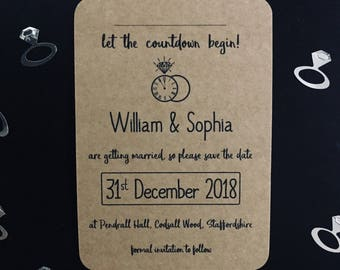 New Years Eve Wedding Save The Date Invitations | Clock Design - Let The Countdown Begin! | NYE Wedding Save The Date Cards